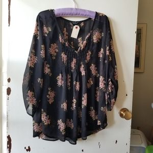 Black with Flowers Sheer Long Sleeve V-Neck Blouse